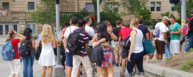 Students connecting at the Euclid intersection
